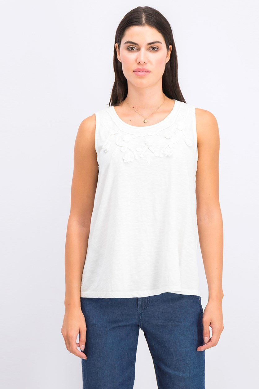 Cotton Soutache-Trim Tank Top, White