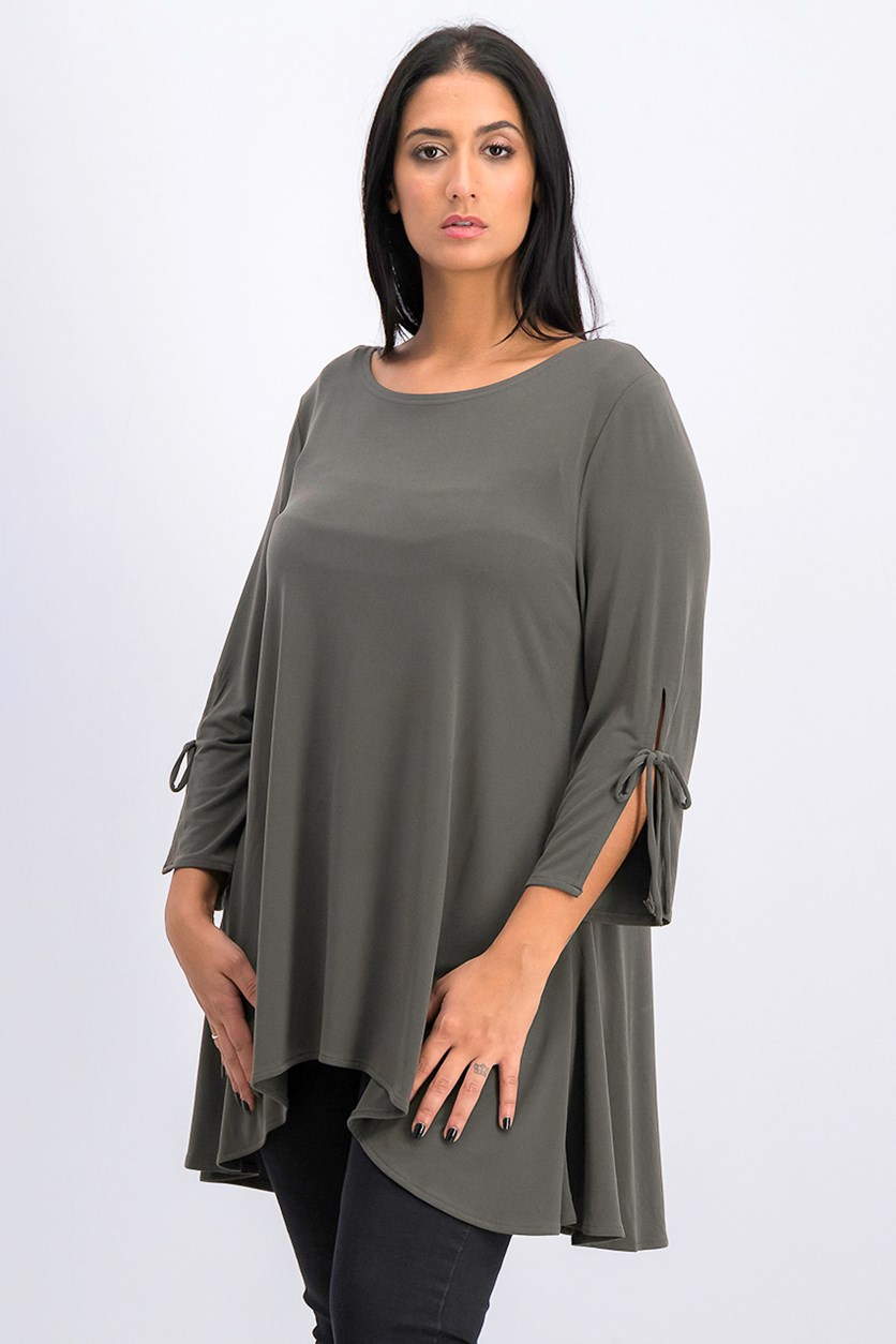 Women's Asymmetrical Tie-Sleeve Swing Top, Urban Olive