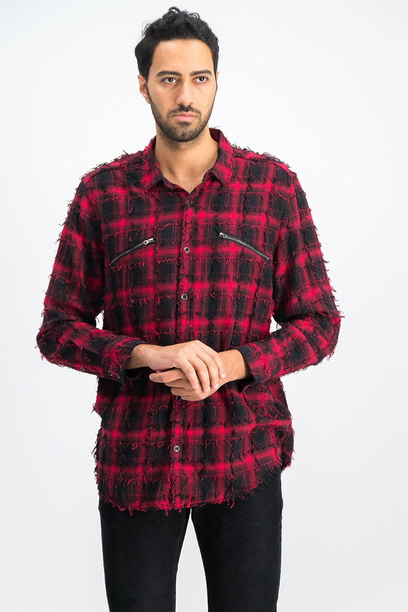 International Concepts Men's Plaid Shirt, Red Combo
