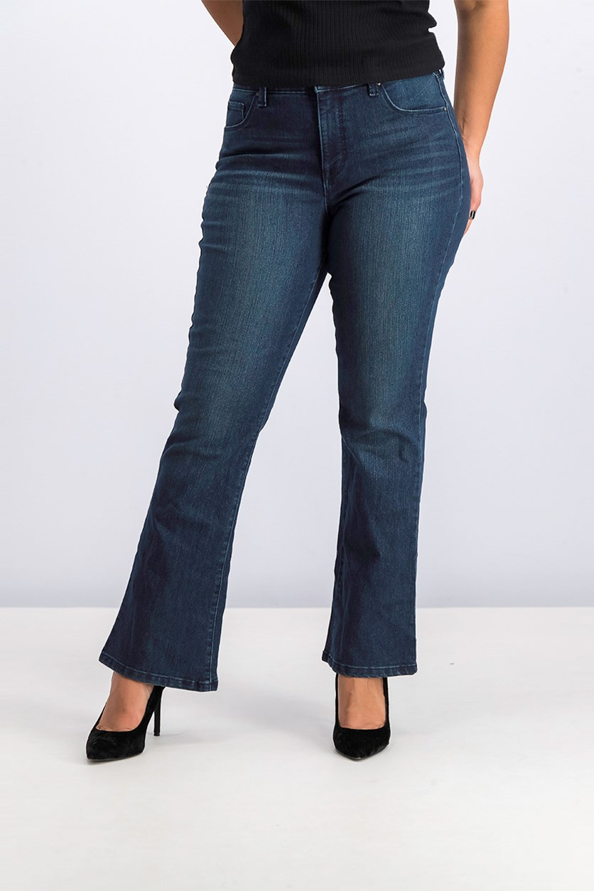 Women's Boot Leg Jeans, Dark Blue Wash