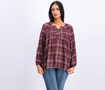 Style & Co Petite Plaid Peasant Top, Fall Valley