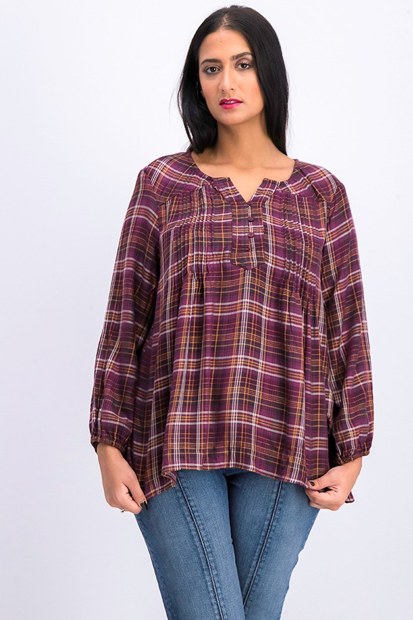 Petite Plaid Peasant Top, Fall Valley