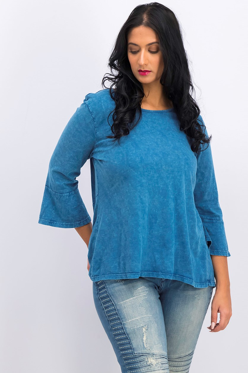 Petite Cotton Bell-Sleeve Top, Moroccan Blue Wash