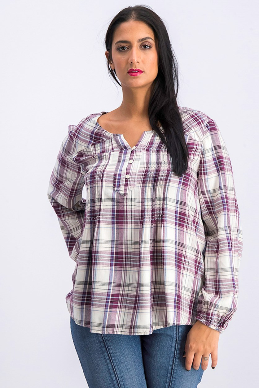 Women's Long Sleeve Petite Plaid Top, Beige/Maroon