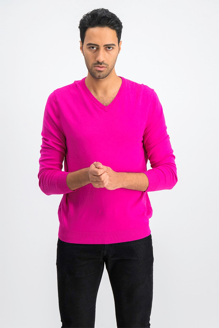 Mens V-Neck Pullover Sweater, Ripe Raspberry