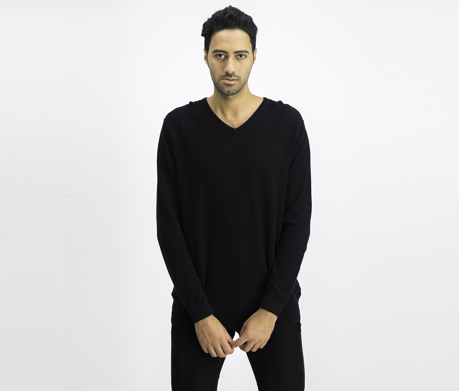 Men's Seed-Stitched Supima Cotton Sweater, Black