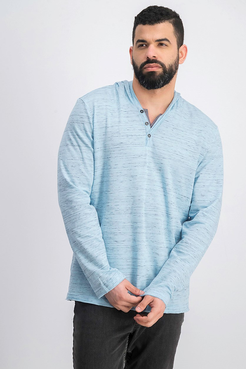 I.n.c. Men's Knit V-Neck Hooded Shirt, Dream Blue