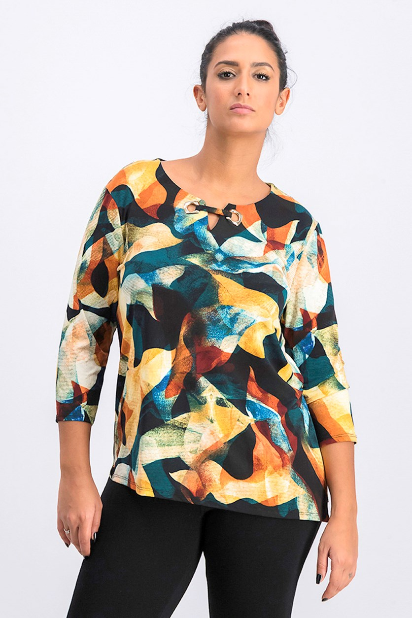 Women's  Petite Printed Asymmetrical Keyhole Top, Cascading Shadow