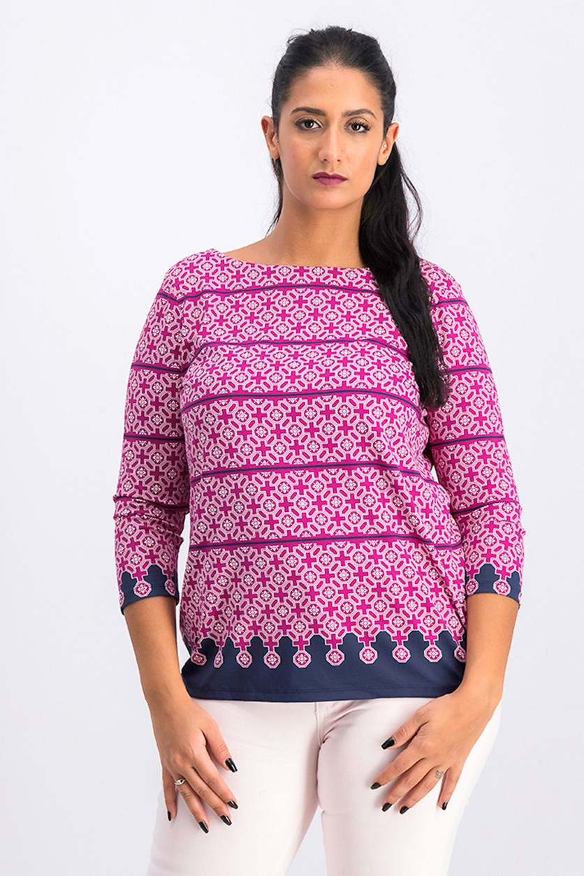 Petite Printed Boatneck Top, Autumn Berry