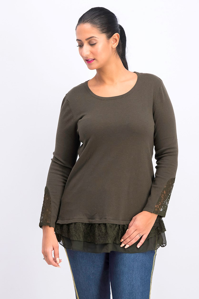 Petite Lace Hem Tunic Sweater, Evening Olive