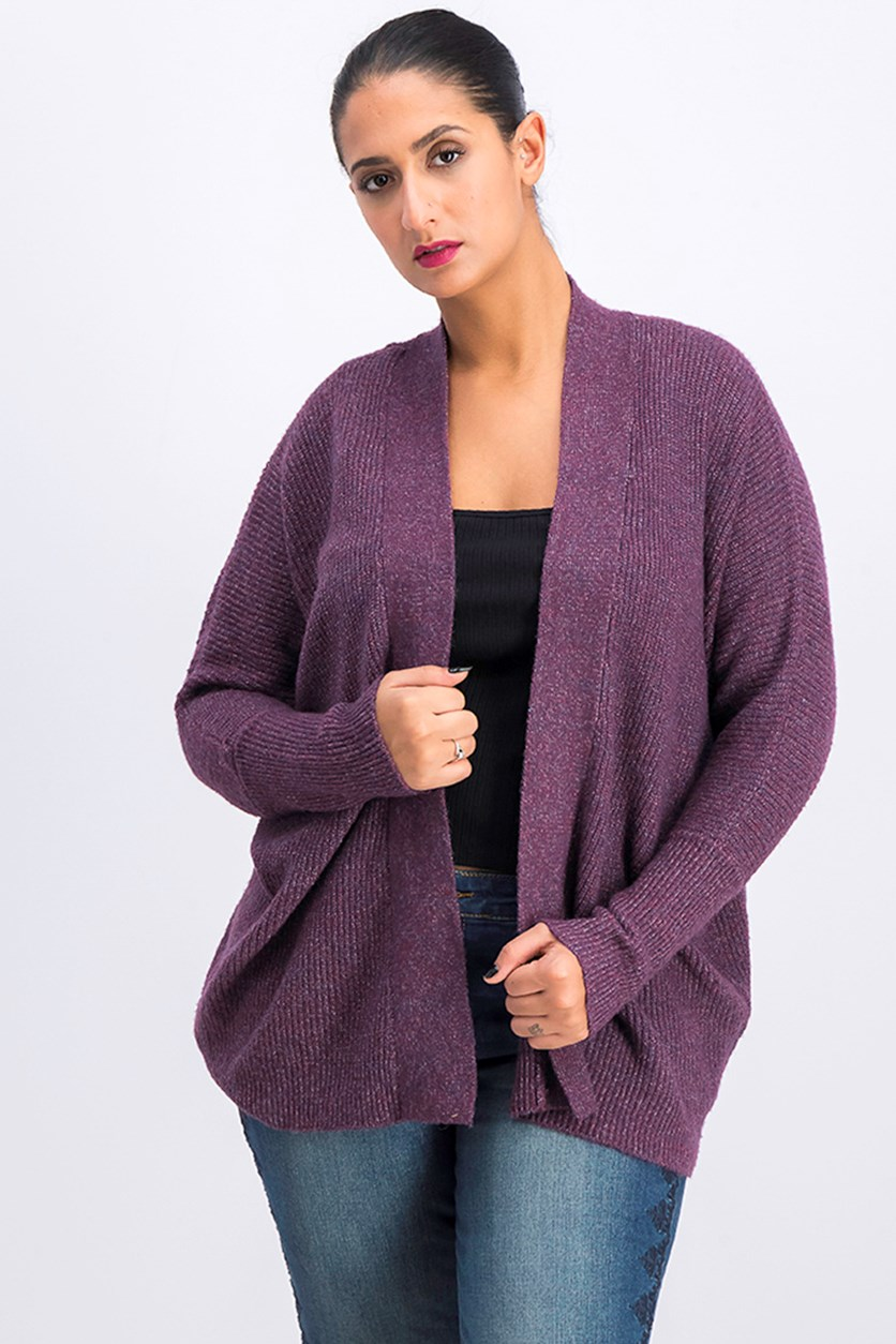 Women's Petite Ribbed Cardigan, Plum Marl