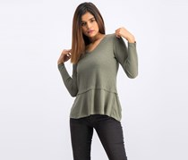 Women's Petite Mixed-Media Thermal Top, Olive