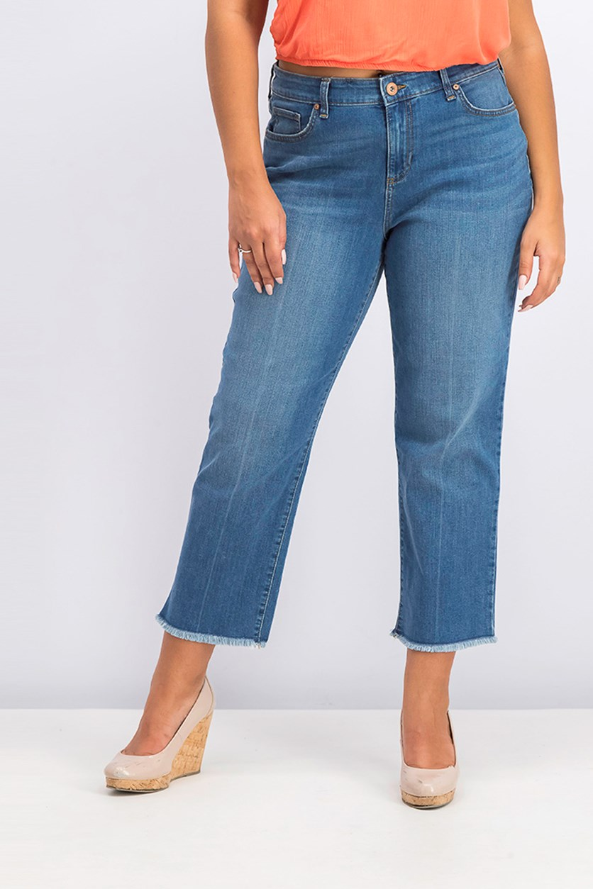 High-Rise Cropped Curvy-Fit Straight-Leg Jeans, Blue Wash