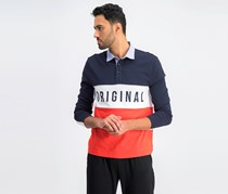 Mens Colorblocked Rugby Polo, Dark Sapphire