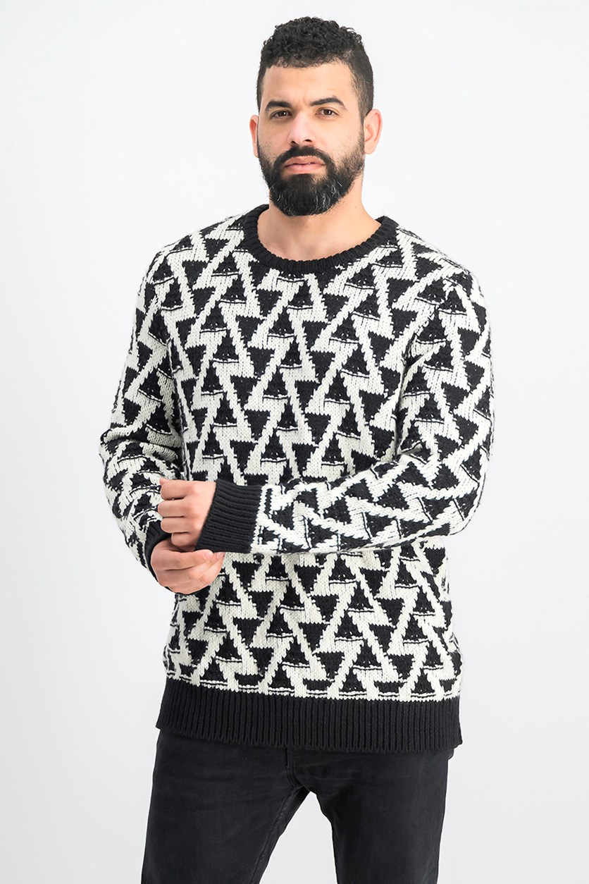 Men's Triangle Stitch Sweater, Black/Ivory