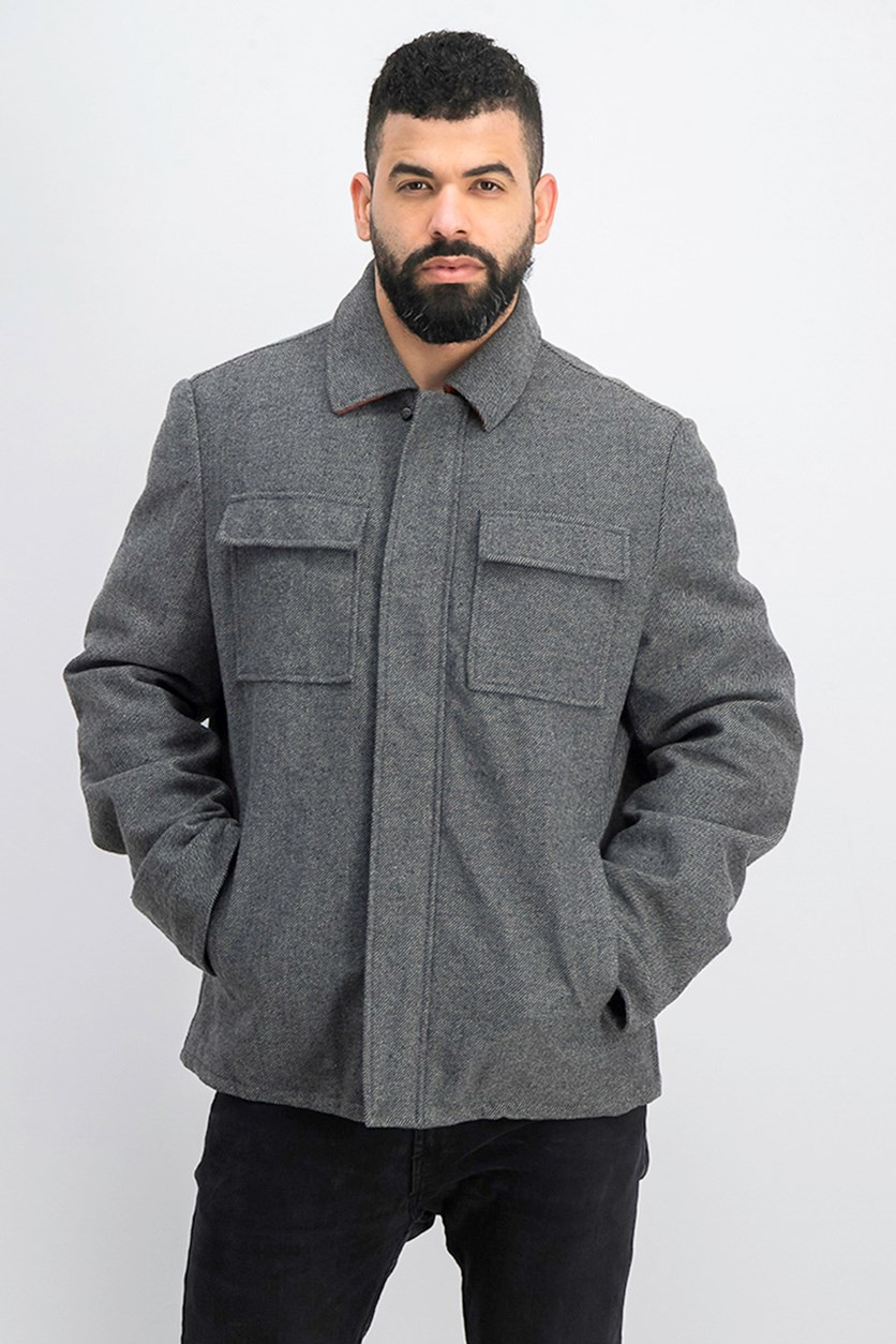 Men's Wool Herringbone Shirt Jacket, Gray