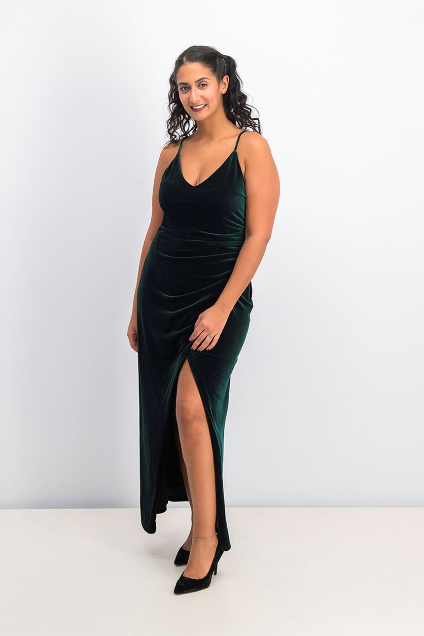 Women's Petites Formal Velvet Evening Dress, Emerald
