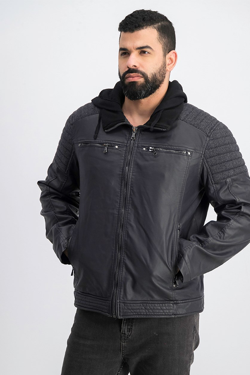 Men's Faux-Leather Hooded Jacket, Charcoal