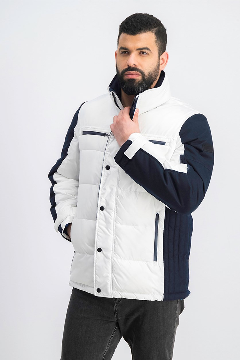 Men's Colorblocked Ski Jacket, White/Navy