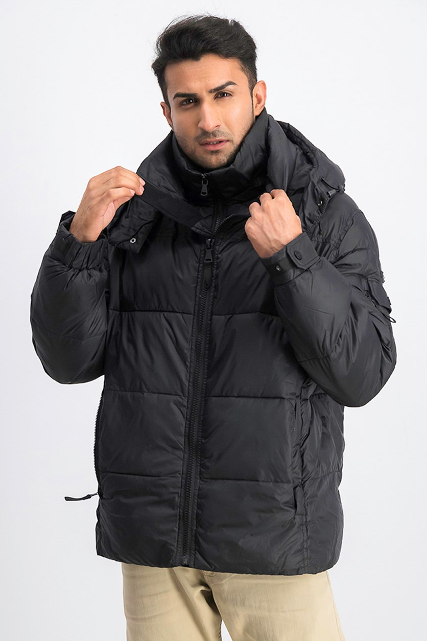 Men's Shiny Hooded Puffer Jacket, Black