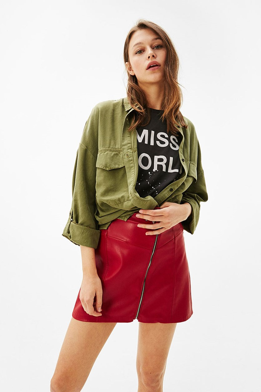 Women's Oversized Button Up Shirt, Olive Green