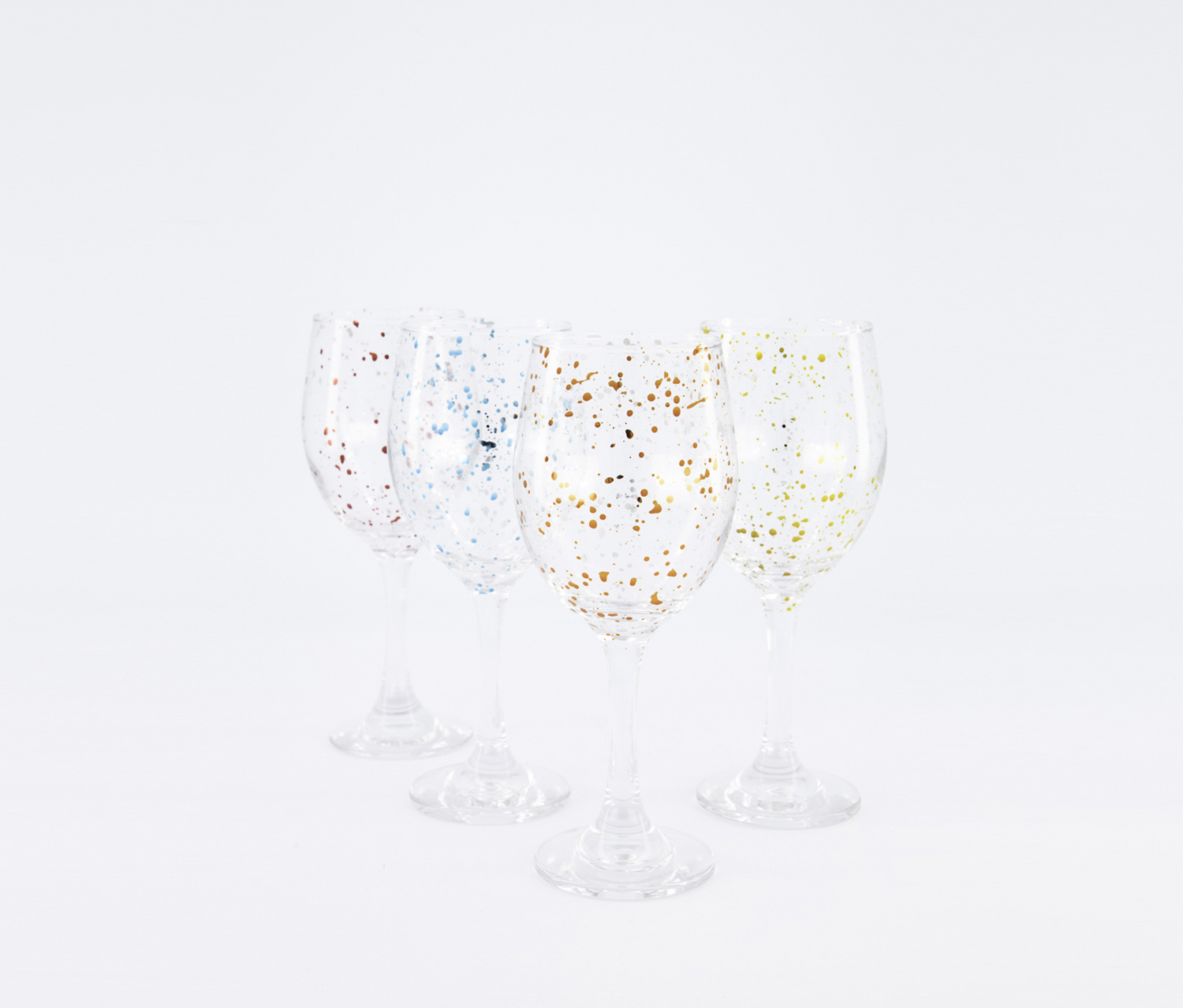 Home Essentilas & Beyond Set Of 4 13.5 oz Cellini Splatter Goblets, Clear