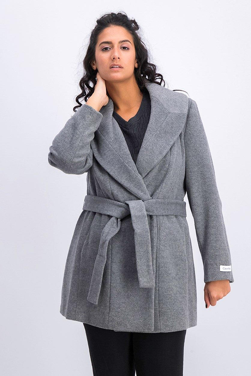 Women's Petite Silk Blend Coat, Grey