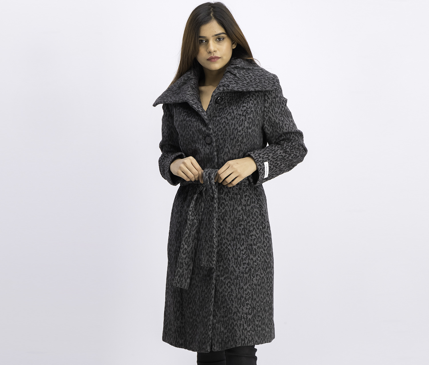 Women's Belted Trench Coat, Black/Gray