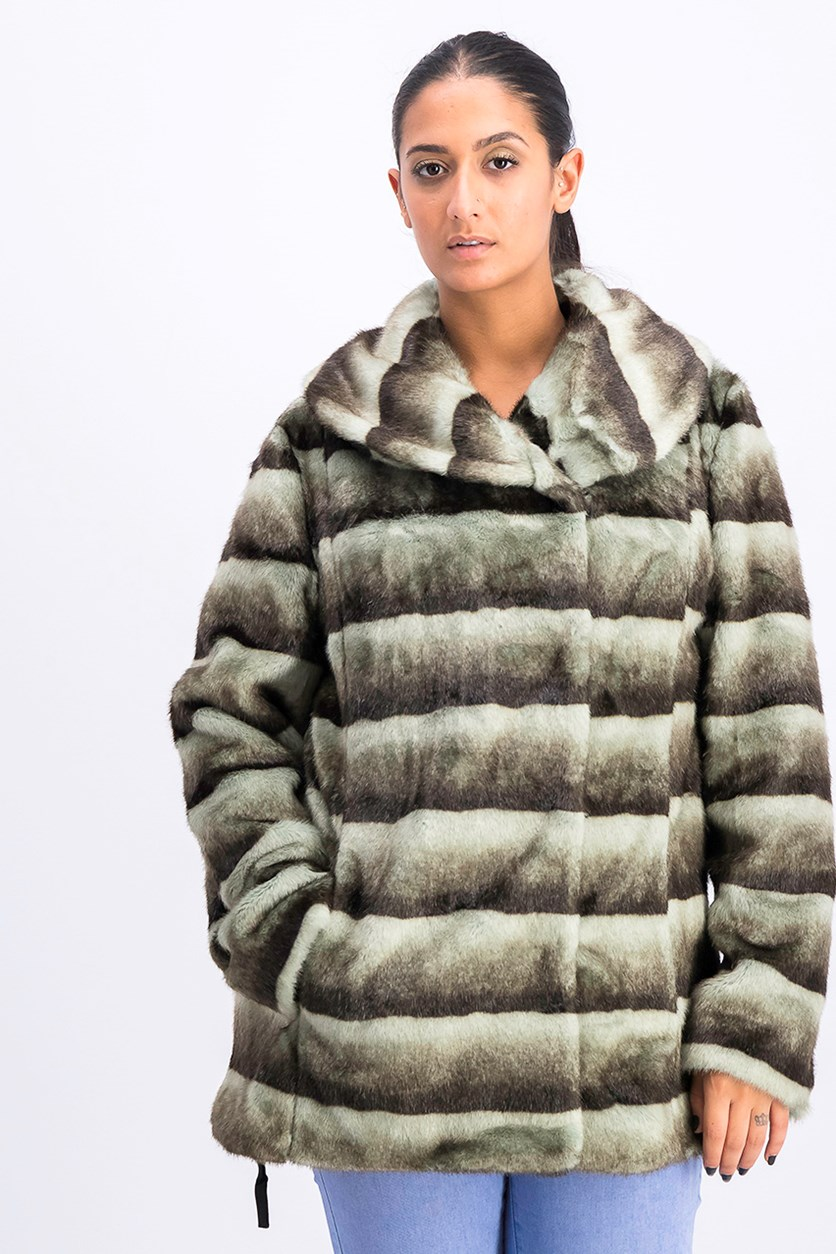 Women Faux Fur Jacket, Grey