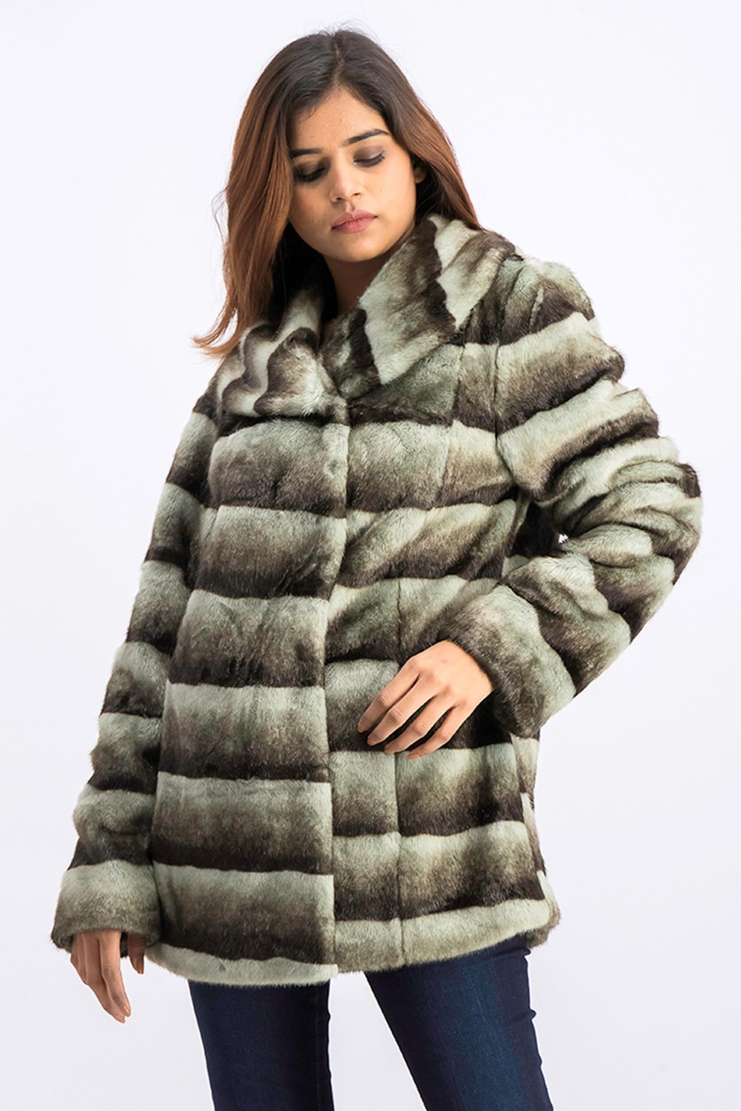 Women's Faux Fur Coat, Grey