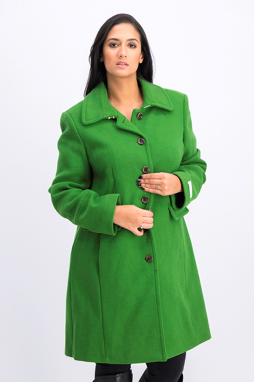 Calvin Klien Women's Mid Length Single Breasted Wool Coat, Green