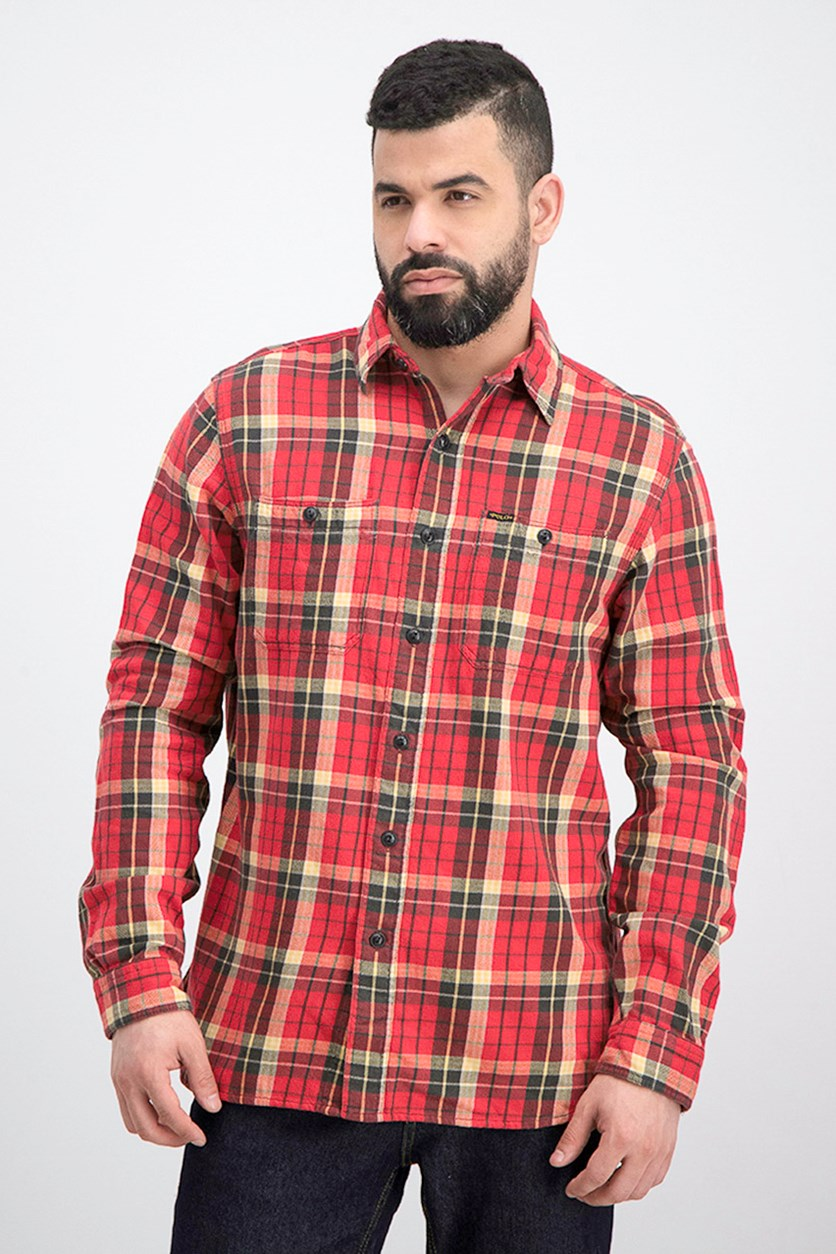 Men's Plaid Casual Shirt, Red