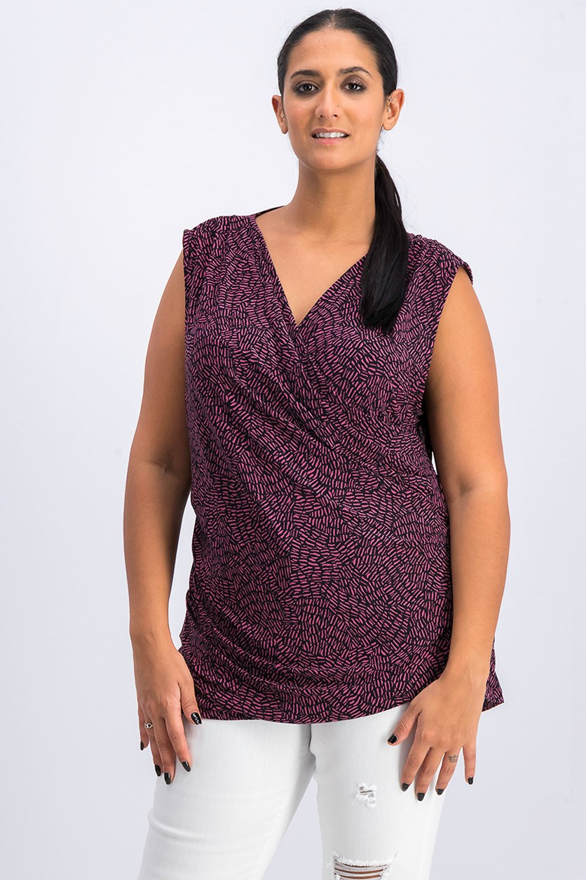 Women's Printed Ruched Top, Black/Violet