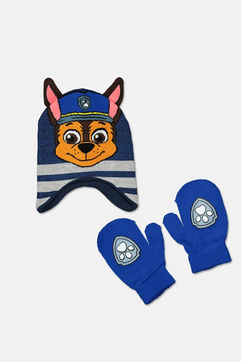 Toddler Boys 2-Pc. Chase Hat & Mittens Set, Blue Combo