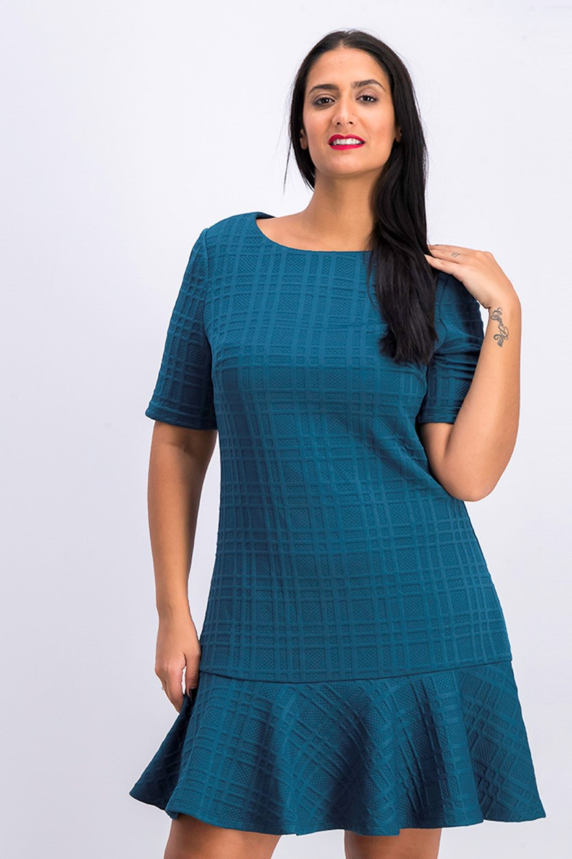 Women's Textured Drop-waist Dress, Teal Turquoise