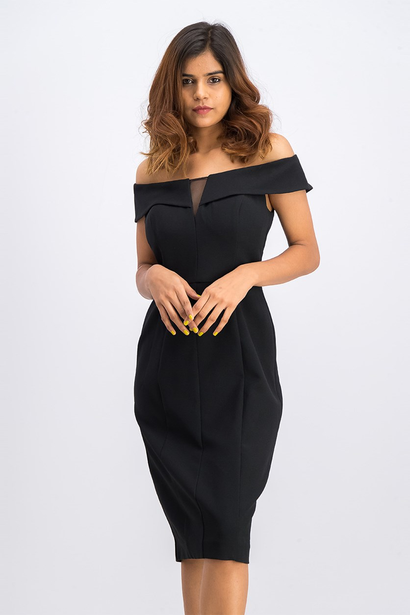 Off-the-Shoulder Sheath Dress, Black