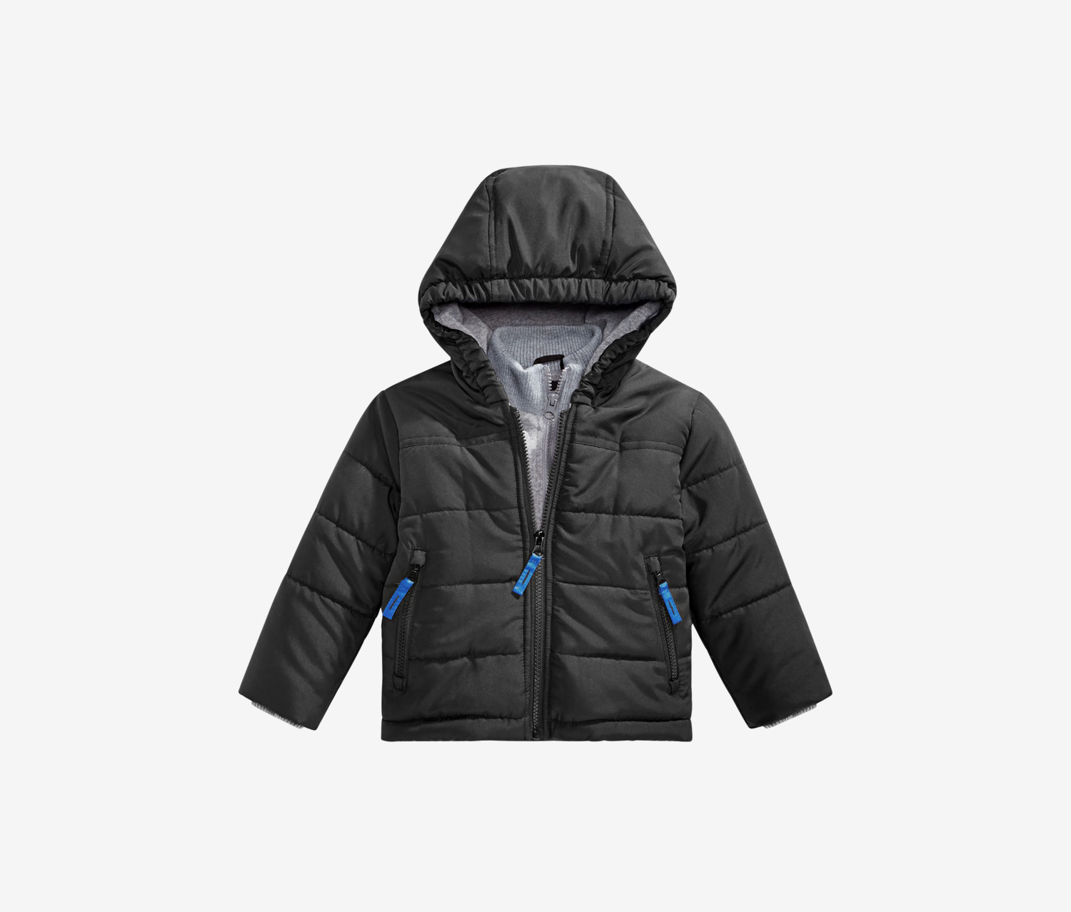 Baby Boys Hooded Layered-Look Puffer Jacket, Black