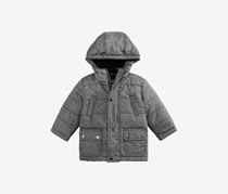 Toddlers Hooded Parka, Charcoal Melange