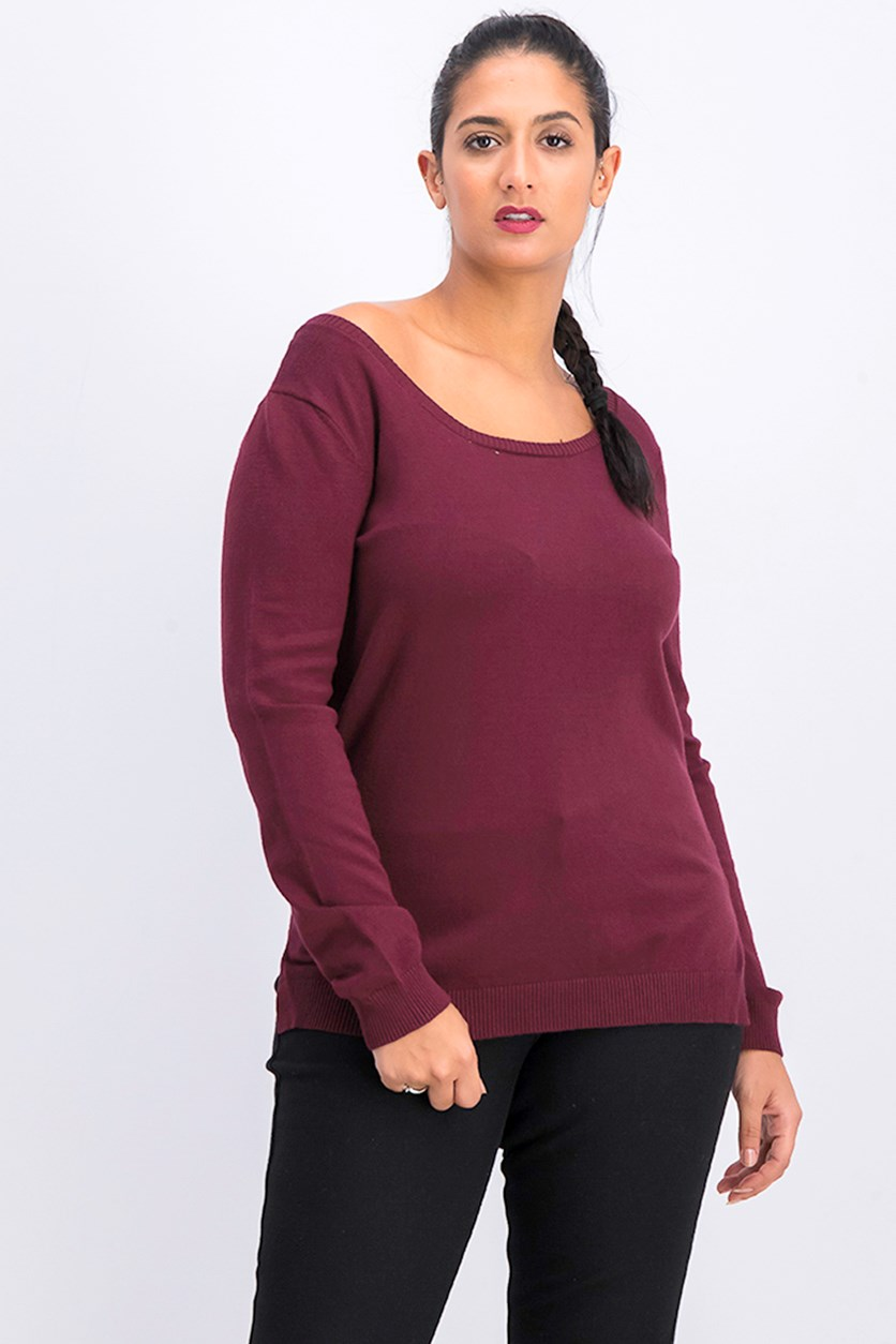 Juniors Strappy Back Sweater, Burgundy