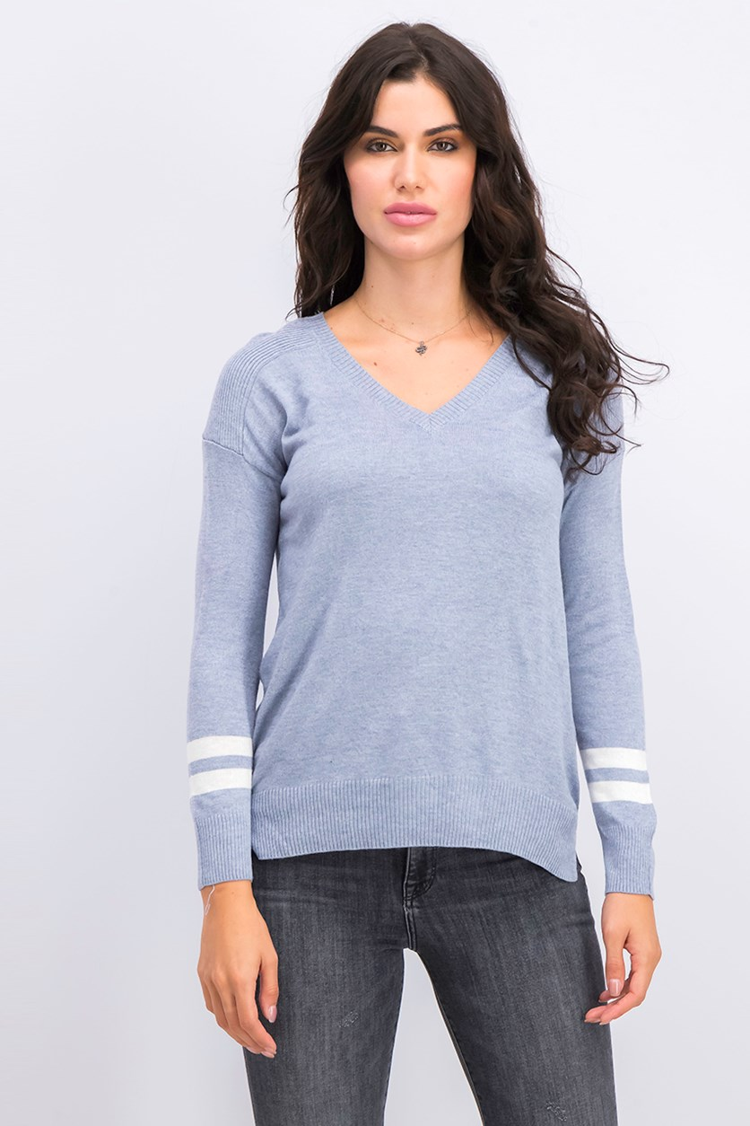 Juniors' High-Low Sweater, Blue