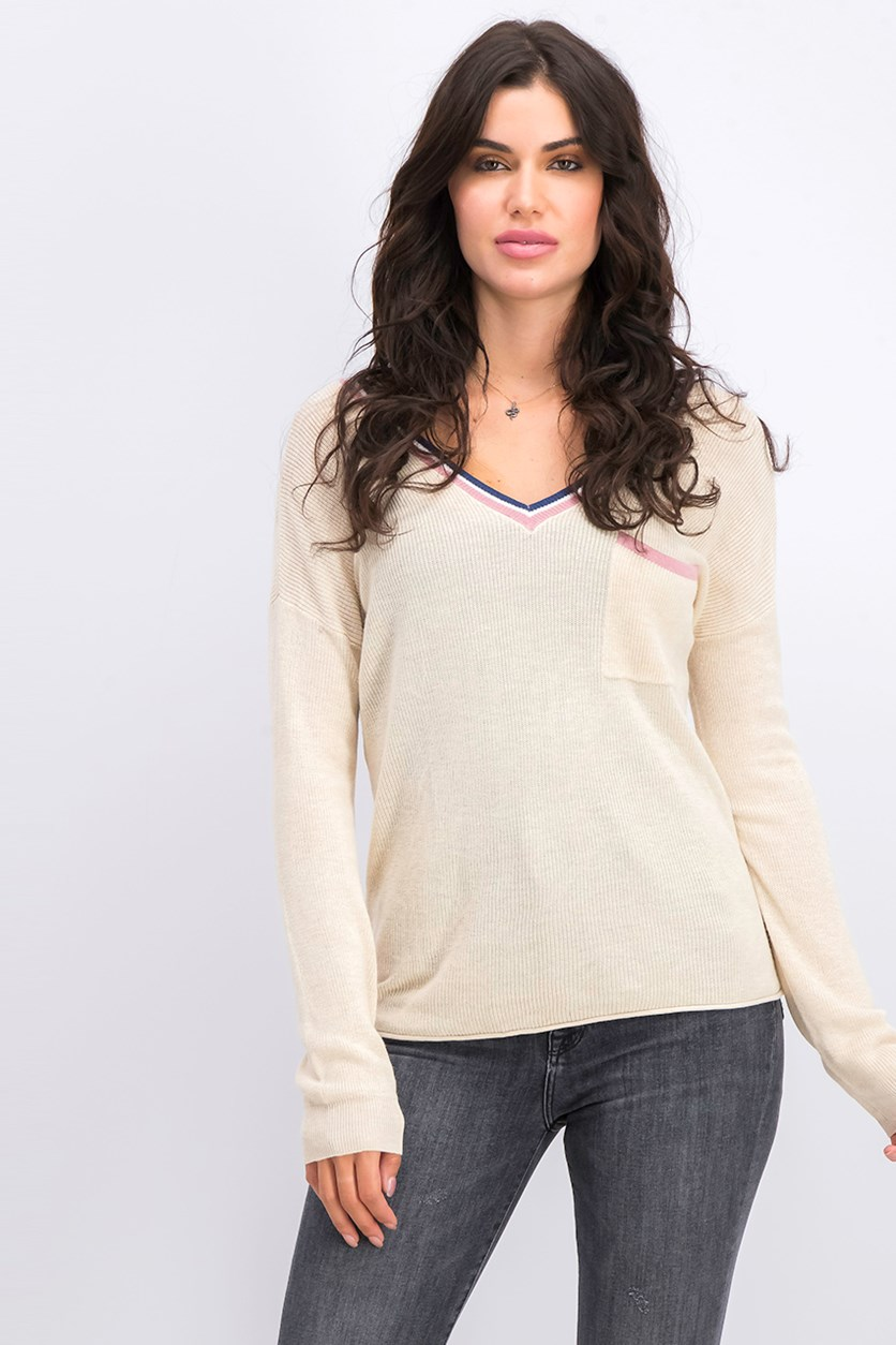 Juniors' Stripe-Trimmed V-Neck Sweater, Heather Oat Combo