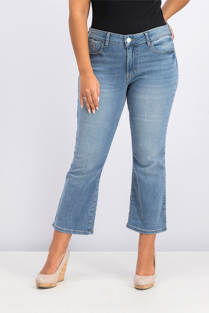 Women's High Waist Straight Leg Crop Jeans, Wash Blue