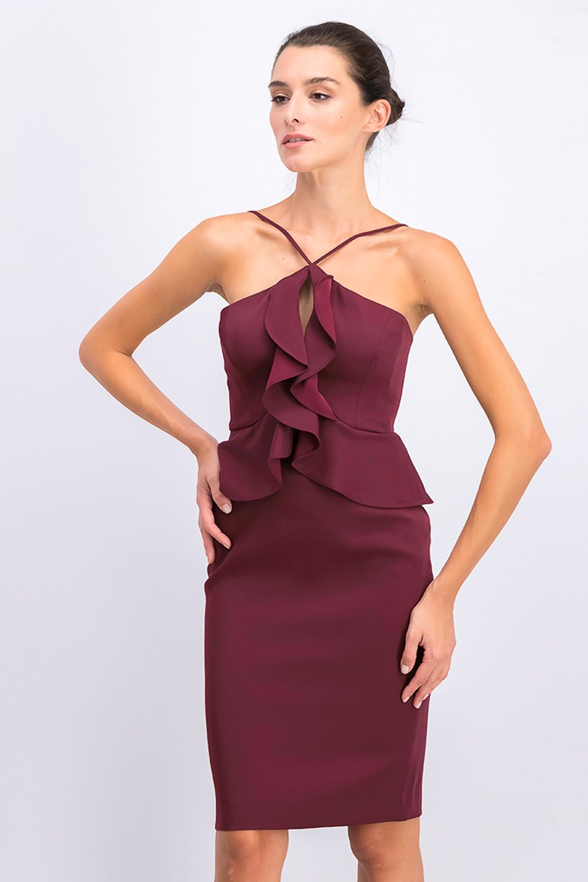 Women's Ruffled Halter Cocktail Dress, Venetian Rose