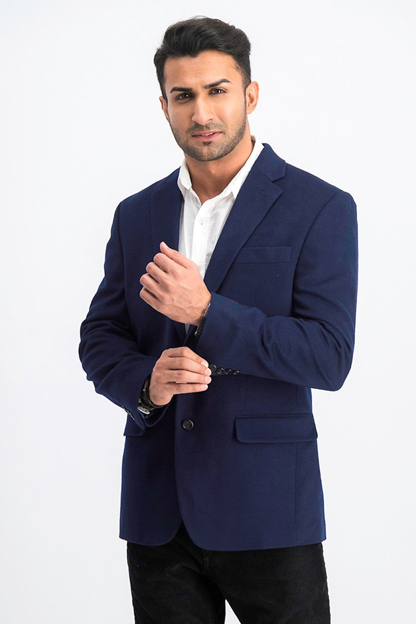 Men's Textured Plain Blazer, Navy