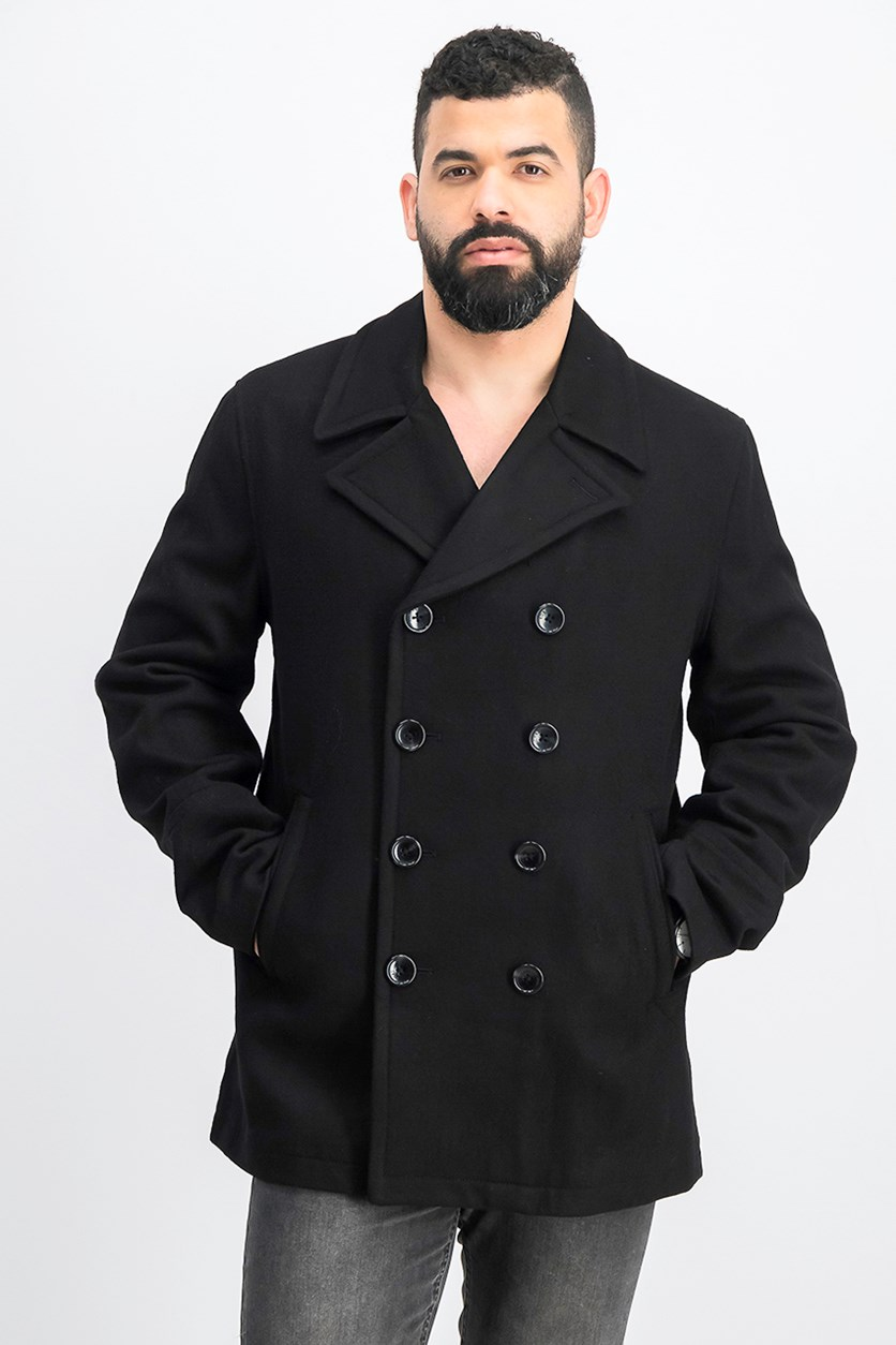 Men's Wool Double Breasted Peacoat, Black