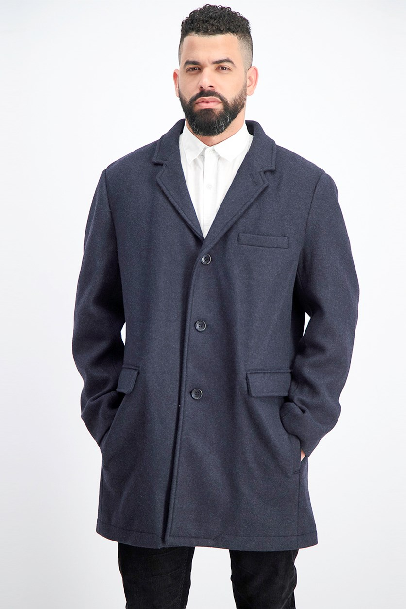 Men's Ghent Stretch Wool Top Coat, Navy