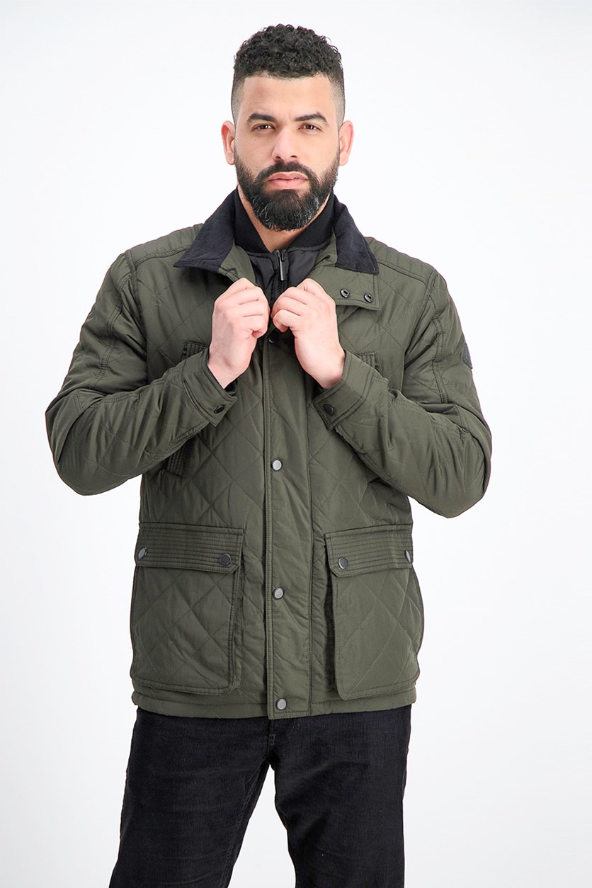 Men's Arietta Diamond Quilted Field Coat, Olive