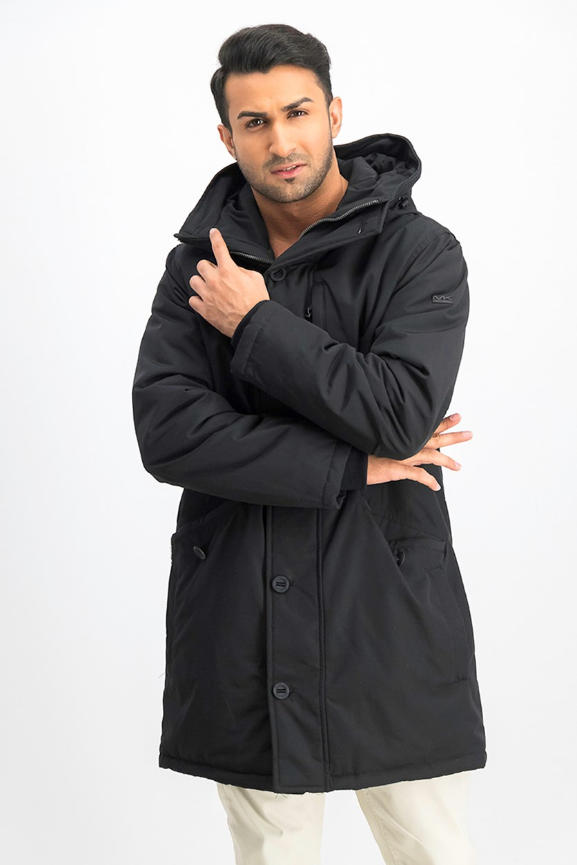 Men's Long Hooded Jacket, Black