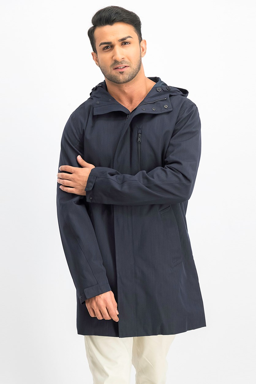 Men's Long Hooded Jacket, Navy