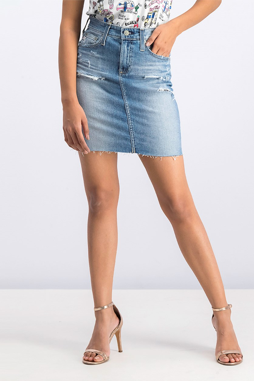 Women's Rip Denim Skirt, Blue